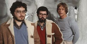 """Lawrence Kasdan with George Lucas and Mark Hamill on the set of """"The Empire Strikes Back"""""""
