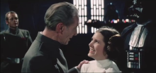 Here's a still of Peter Cushing and Carrie Fisher laughing it up, since the video is now gone