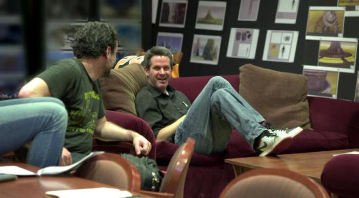 Simon Kinberg with Dave Filoni (and more Lothal concept art in the background)
