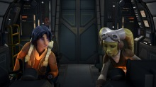 "Ezra Bridger and Hera Syndulla in the cockpit of the Ghost in ""Spark of Rebellion"""