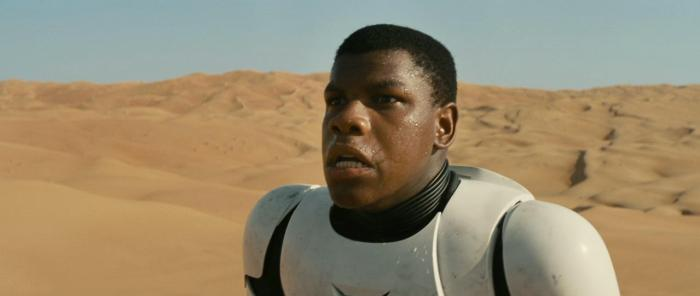 Boyega in stormtrooper armour
