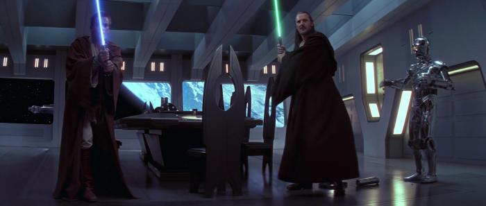 Obi-Wan Kenobi (Ewan McGregor) and Qui-Gon Jinn (Liam Neeson) aboard the Trade Federation battleship