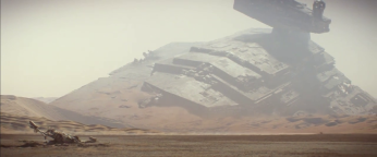 A crashed Star Destroyer on Jakku, with a crashed X-wing in the foreground