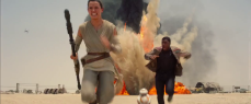 Rey, Finn and BB-8 flee a TIE fighter attack