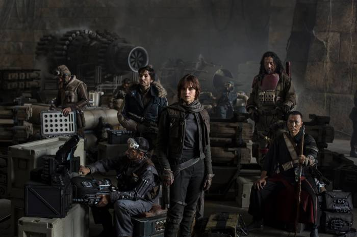 Riz Ahmed, Diego Luna, Felicity Jones, Jiang Wen and Donnie Yen in Rogue One