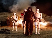 Kylo Ren and a team of stormtroopers lay waste to a Jakku village
